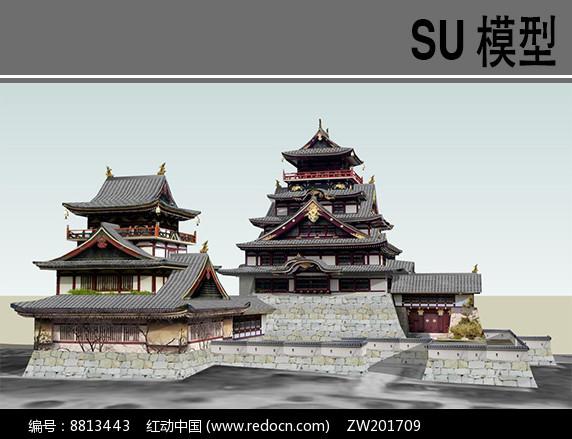 日本古建筑SU图片