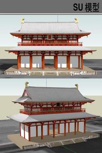 日本古建筑牌坊 skp