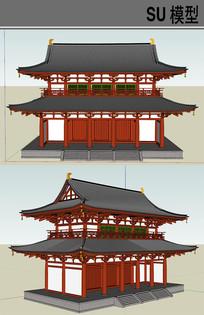 日本古建筑寺庙 skp
