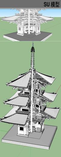日本塔房结构模型 skp