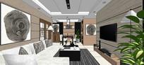 三房两厅 现代家居空间 skp