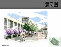 商业街效果手绘透视图