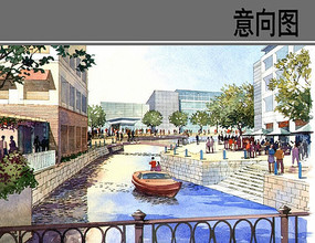 商业街游船景观效果图