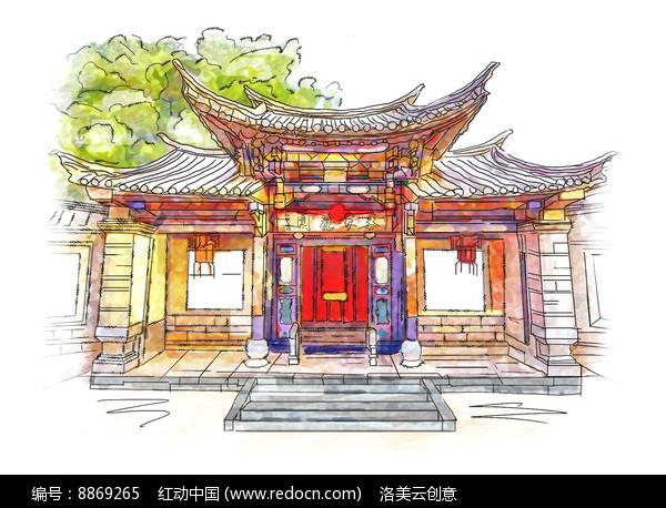 手绘古建筑大门插画图片
