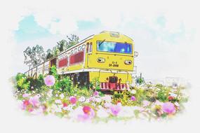 手绘日和小清新装饰画火车插画