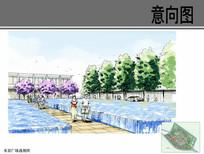 水景广场手绘透视图