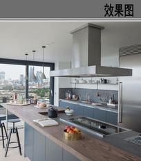 现代开放式厨房效果图 JPG