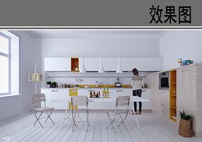 小清新风格家庭厨房效果图 JPG
