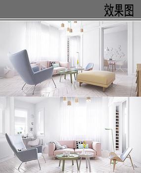 小清新风格客厅效果