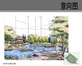 小区中心景观手绘效果图 JPG
