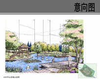 小区中心景观手绘效果图