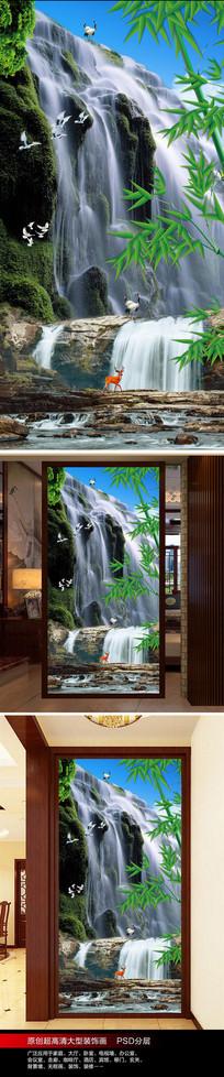 小溪流水生财瀑布玄关背景墙