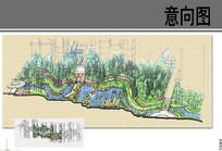易和岭秀滨城景观河岸手绘