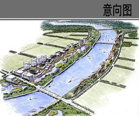 运河汉沽段景观手绘鸟瞰图