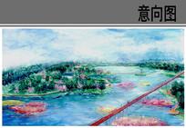 兖州泗河景观带百岛园鸟瞰图