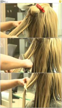 发型师做头发实拍视频素材