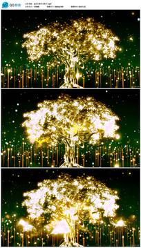 金色大树生长粒子视频素材