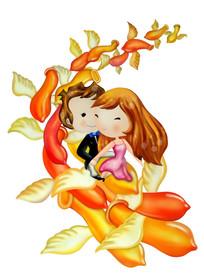 情人节的浪漫插图 PSD