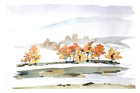 秋天的山谷插画 PSD