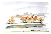 秋天的山谷插画