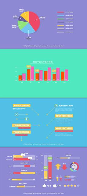 企业数据统计图表包模板