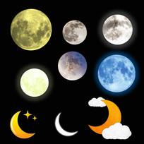 唯美月亮月球透明背景免扣素材