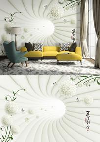3D立体清新花卉电视背景墙 PSD