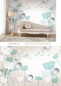 3D手绘花卉沙发电视背景墙 PSD