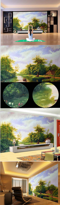高清欧式公园流水荷花背景墙