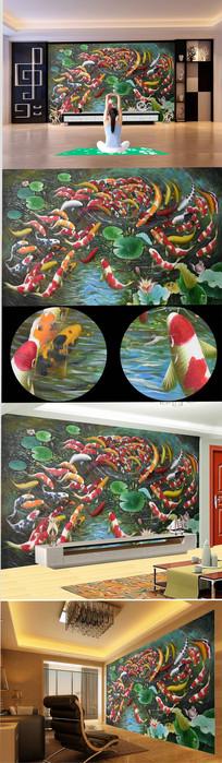 高清手绘鲤鱼荷花背景墙 TIF