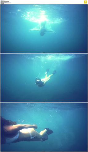 美女潜水实拍视频素材