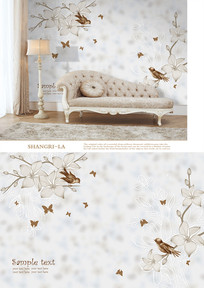 欧式花鸟手绘沙发背景墙 PSD
