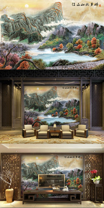 江山如此多娇大理石水墨背景墙