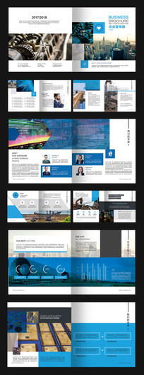 方形高端蓝色企业画册 PSD