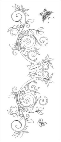 蝴蝶花纹雕刻图案