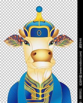 民族特色的插画牛 PSD