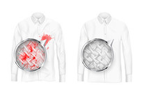 清洁衬衫上的红色污渍图片 EPS