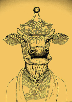 手绘的牛 PSD