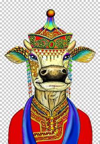 手绘民族特色的牛