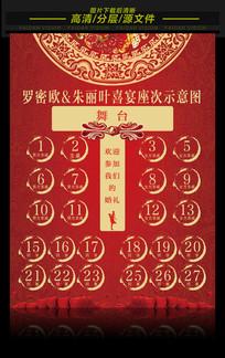 中式婚礼座次表设计