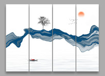 中式水墨山水背景画