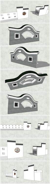 2款新中式古典景墙SU模型