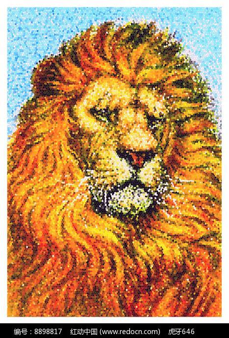 霸气的金毛狮王绘插画图片