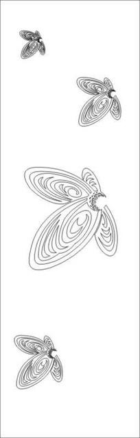 抽象蝴蝶雕刻图案 CDR