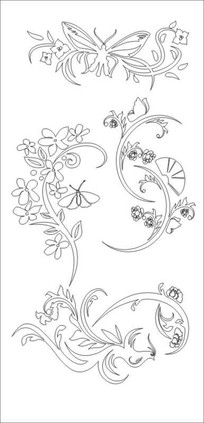 凤凰花蝴蝶雕刻图案 CDR