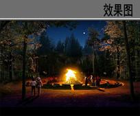 篝火景观效果图
