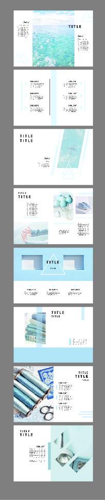 浅蓝时尚简约清新画册设计模板
