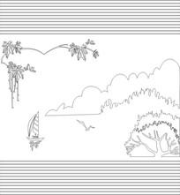 山水画雕刻图案
