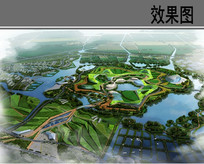 生态农业园区主景区鸟瞰效果图