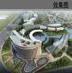 现代建筑设计鸟瞰效果图 JPG